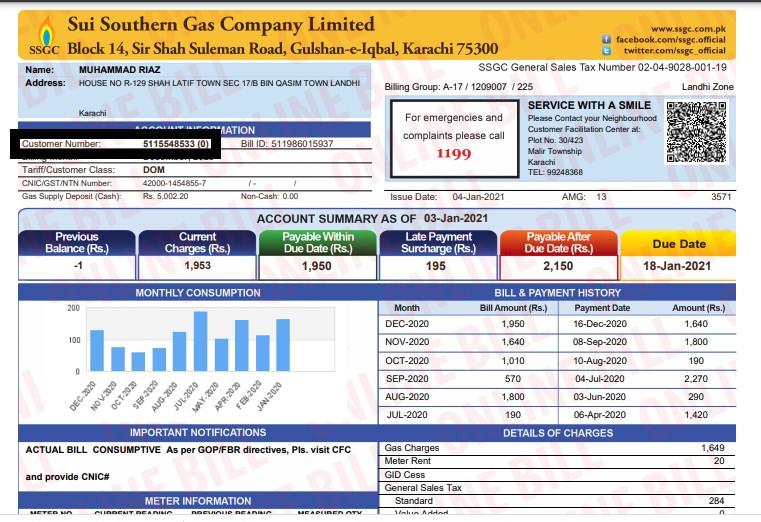 SSGC Bill Consumer Number
