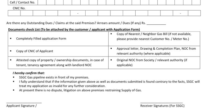 SSGC domestic form for new connection